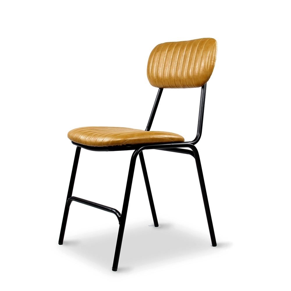 Dackar Vintage Yellow Dimension W420 D520 H870 SH470mm  Style Industrial  Design Brushed metal frame, solid ply seat, high density foam. PU upholstery features single stitch detailing and piping.